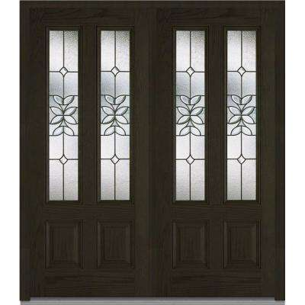 74 in. x 81.75 in. Cadence Decorative Glass 2 Lite Finished Fiberglass Oak Exterior Double Door