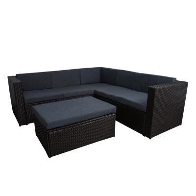 Kaison 4-Piece Modern Sectional Wicker Patio Conversation Set and Storage Ottoman with Gray Cushions