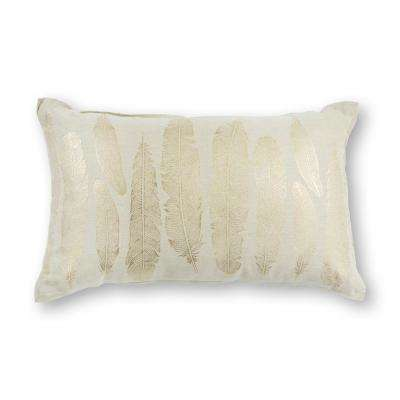 Gold Feathers 12 in. x 20 in. Decorative Pillow