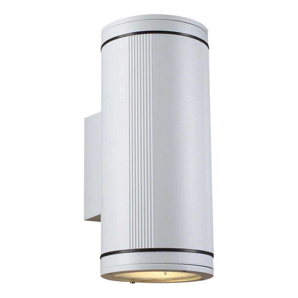 Plc Lighting 2 Light Outdoor White Wall Lantern Sconce With Clear Gl