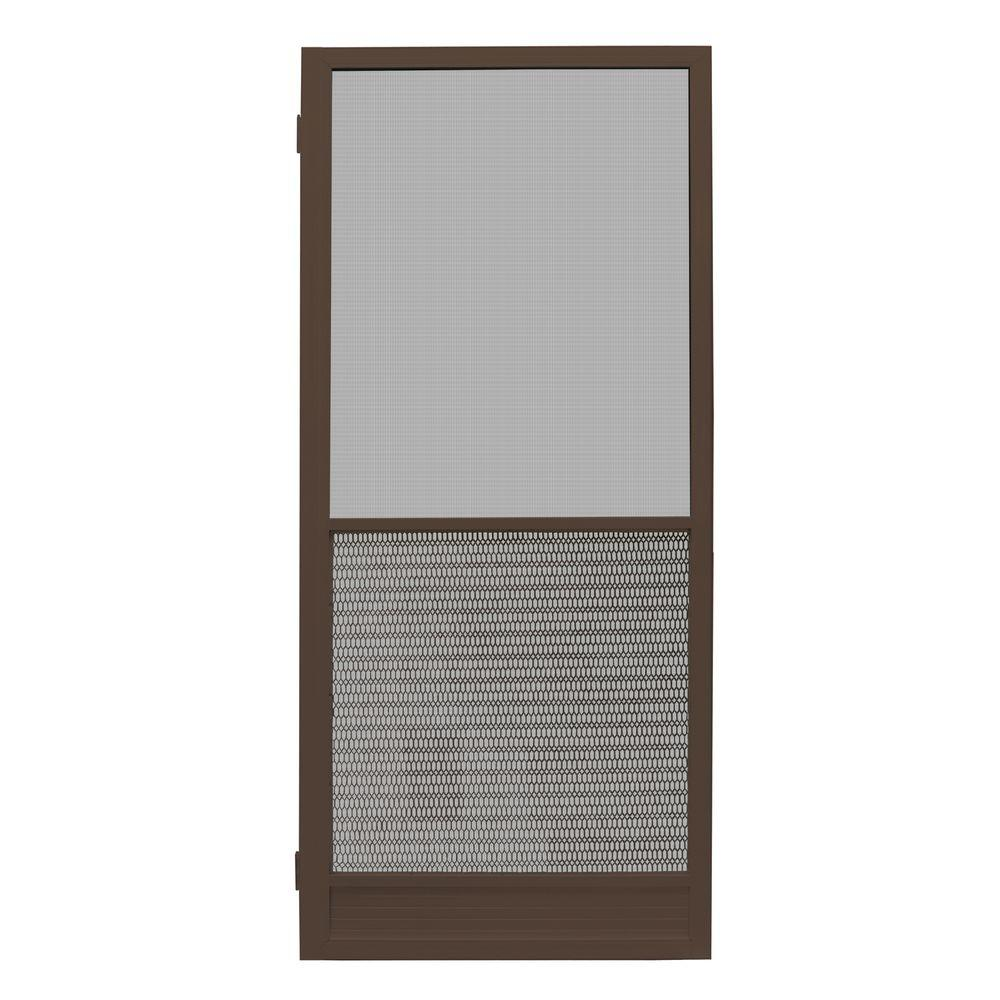 Unique home designs 30 in x 80 in riviera bronze for Screen for door that opens out