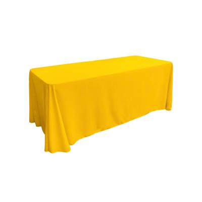 90 in. x 156 in. Dark Yellow Polyester Poplin Rectangular Tablecloth