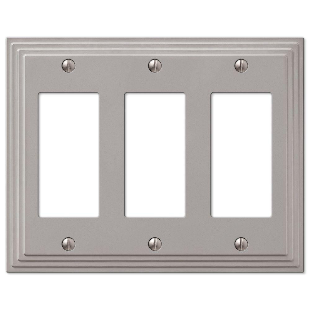 Amerelle Tiered Cast 3 Decora Wall Plate Satin Nickel