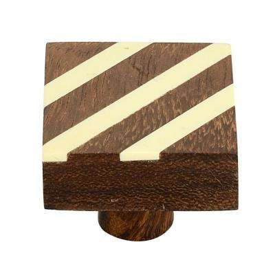 Fusion Striped 1-3/10 in. (33 mm) Cream and Brown Cabinet Knob