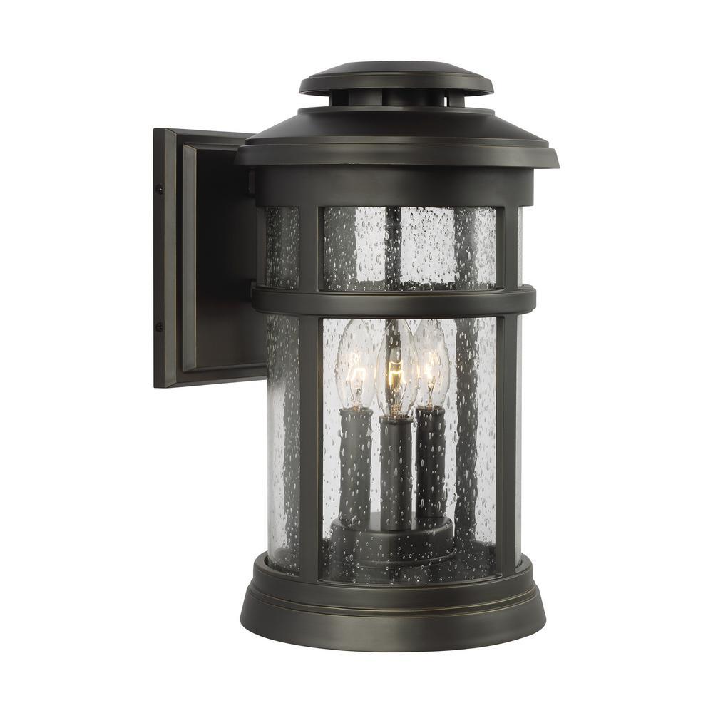Newport 3-Light Antique Bronze Outdoor 16 in. Wall Lantern Sconce