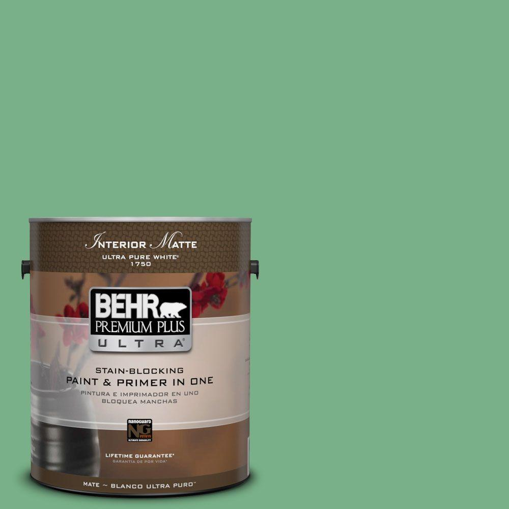 1 gal. #M410-5 Green Bank Matte Interior Paint