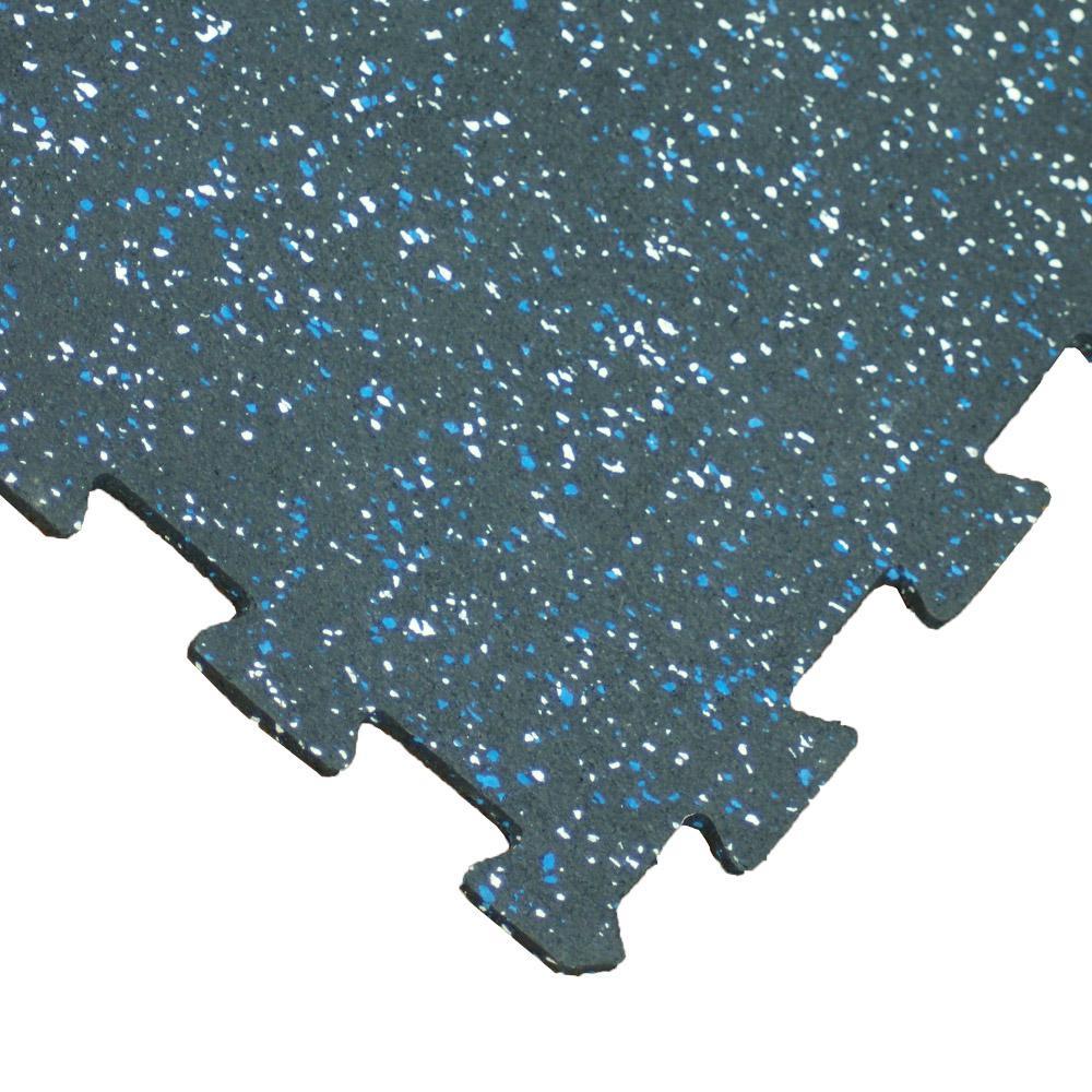 """""""ReUz"""" Rubber Tiles 1.6 ft. W x 1.6 ft. L Blue/White Speckle Rubber Flooring Tiles (11 sq. ft.) (4-Pack)"""