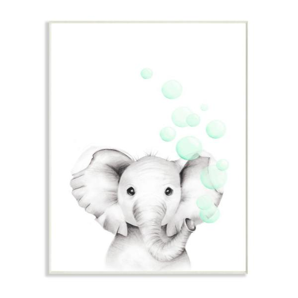 The Kids Room By Stupell 10 In X 15 In Cute Cartoon Baby Elephant Zoo Painting By Studio Q Wood Wall Art Brp 2410 Wd 10x15 The Home Depot