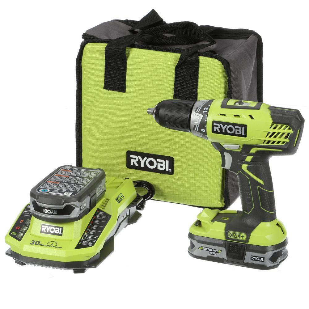 Ryobi 18-Volt ONE+ Lithium+ 1/2 in. Cordless Compact Drill/Driver Kit