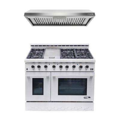 Entre NK4811 Gas Range and EH4831 Range Hood Bundle