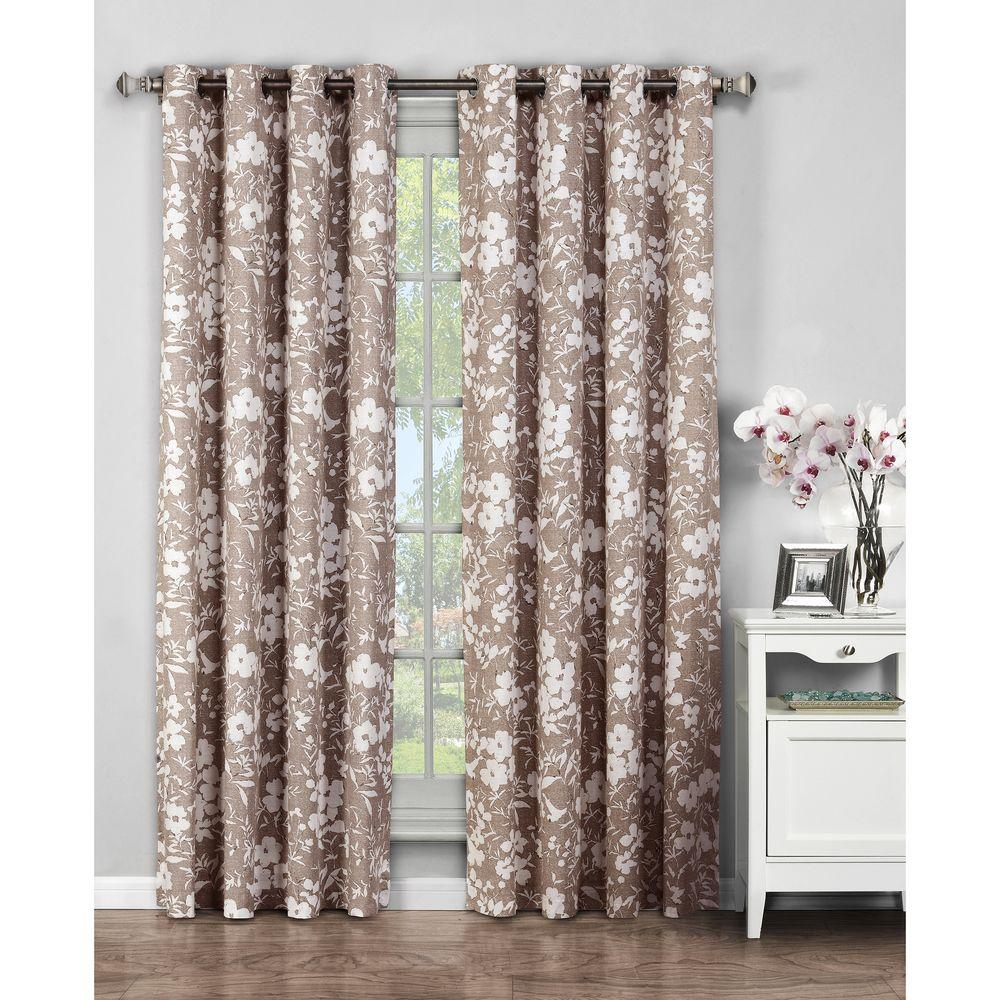 Window Elements Semi Opaque Florabotanica Printed Cotton Extra Wide 84 In L Grommet Curtain