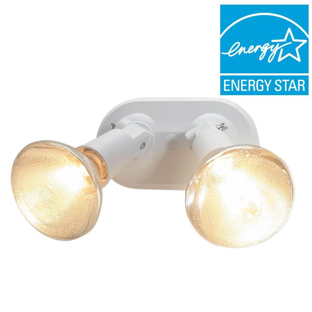 Del Mar 2-Lamp White Outdoor Flood Light