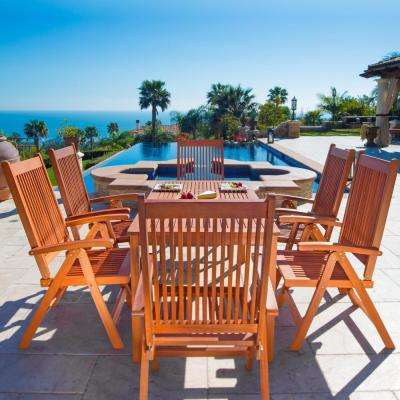 Balthazar Eucalyptus 7-Piece Patio Dining Set with Folding Chairs