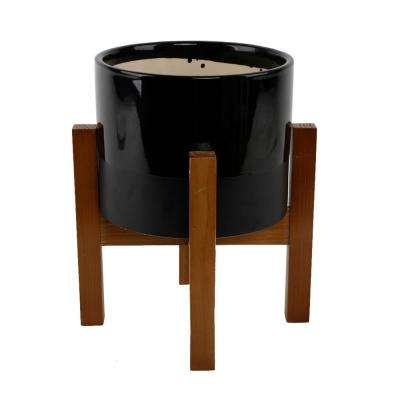 8 in. 2-Tone Black Ceramic Pot on Wood Stand Mid-Century Planter