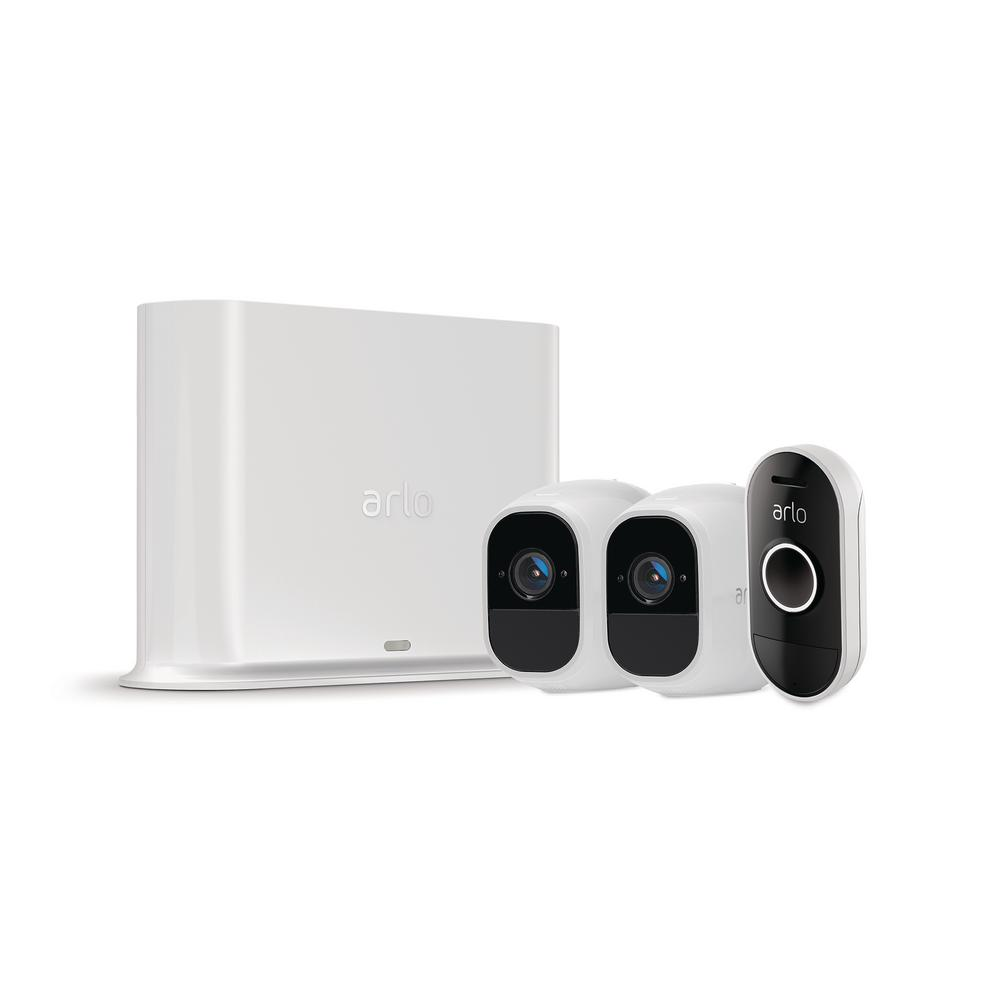 Arlo Pro 2 1080p Smart Home Security Surveillance System with 2 Wireless Cameras and Audio Doorbell, White