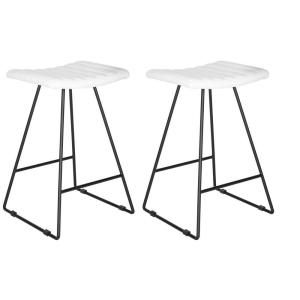 Miraculous Safavieh Akito 26 In White Cushioned Bar Stool Set Of 2 Cjindustries Chair Design For Home Cjindustriesco