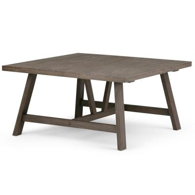Dylan Solid Wood 36 in. Wide Square Modern Industrial Modern Industrial Square Coffee Table in Driftwood