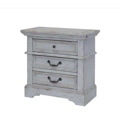 Stonebrook 3-Drawer Antique Grey Nightstand