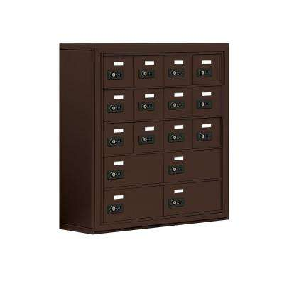 19000 Series 30.5 in. W x 31 in. H x 9.25 in. D 12 A/4 B Doors S-Mount Resettable Locks Cell Phone Locker in Bronze