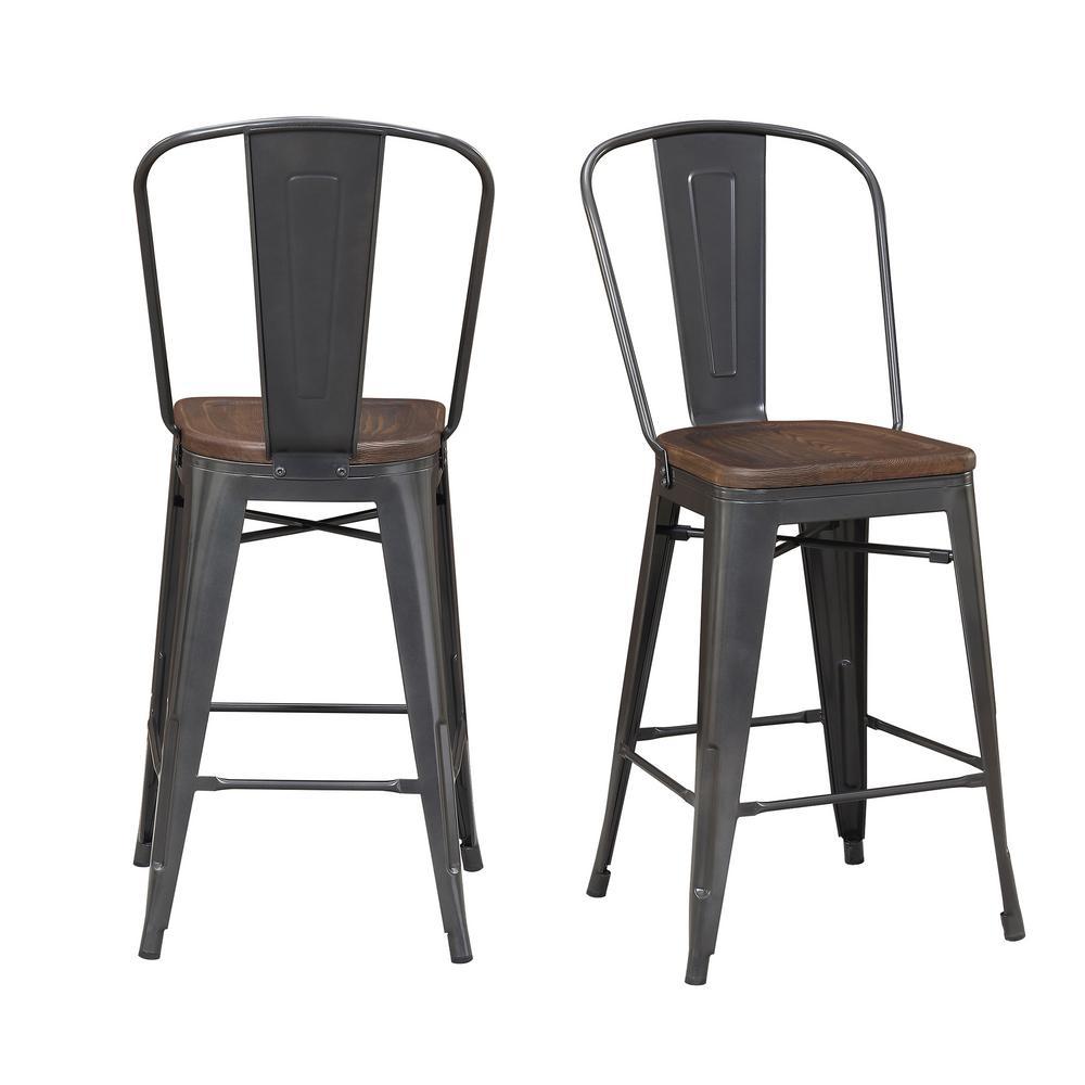 Logan Gray/Brown Bar Stool Set