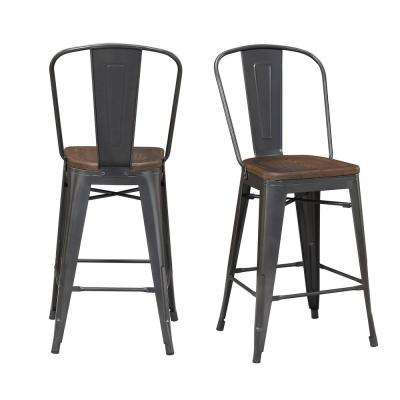 Logan Gray/Brown Adjustable Bar Stool (Set of 2)