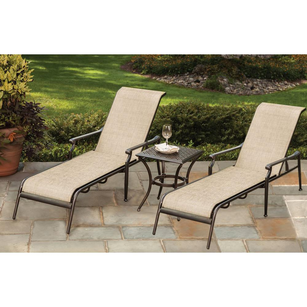 3-Piece Sling Outdoor Chaise Lounge