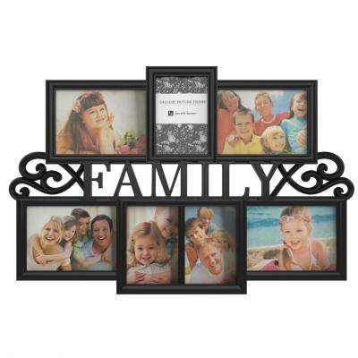 7-Opening 4 in. x 6 in. and 5 in. x 7 in. Family Black Picture Frame Collage