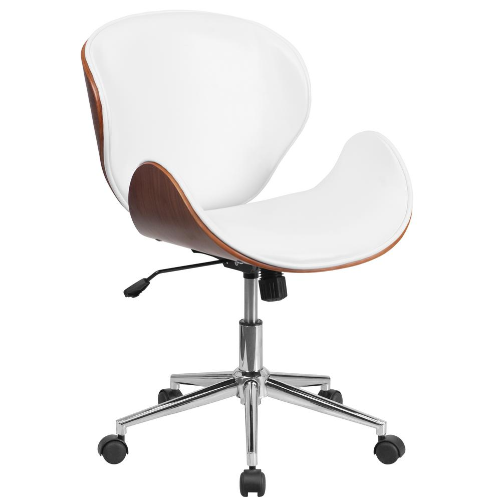 Ordinaire This Review Is From:Mid Back Walnut Wood Swivel Conference Chair In White  Leather
