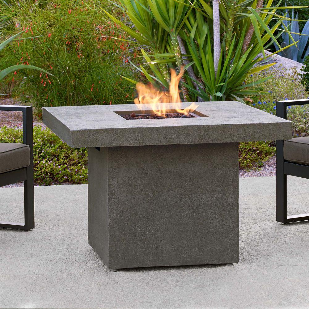 Fiber Concret Square Chat Height Propane Gas Fire Pit
