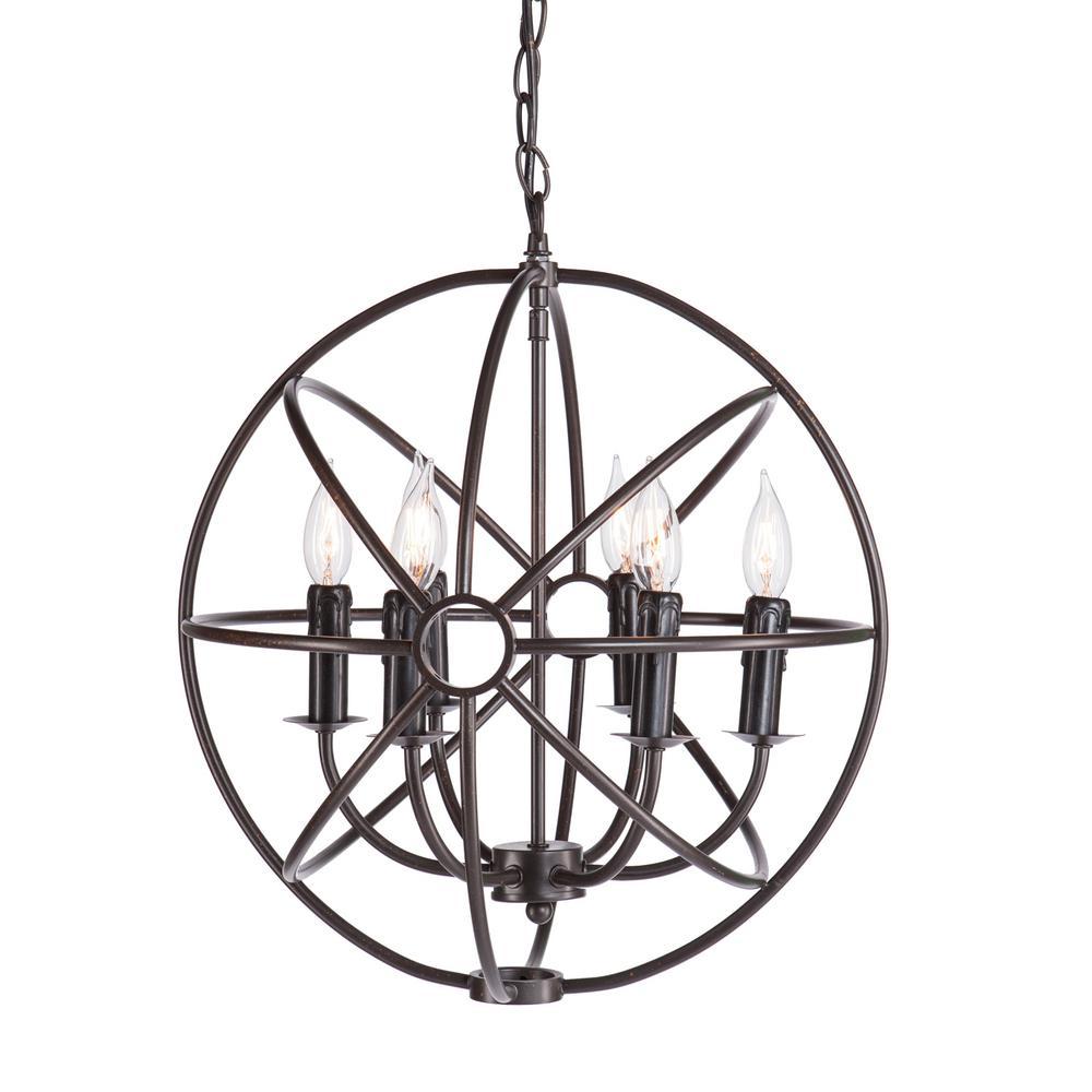 Baldwin 6-Light Dark Antique Bronze Orbital Globe Pendant Lamp