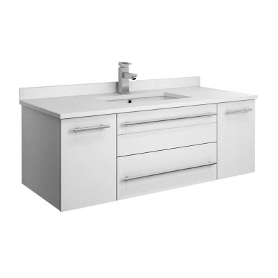 Lucera 42 in. W Wall Hung Bath Vanity in White with Quartz Stone Vanity Top in White with White Basin