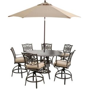 Hanover 7-Piece Outdoor Bar H8 Dining Set with Round Cast Table, Swivels, Umblla and Base with Natural Oat... by Hanover