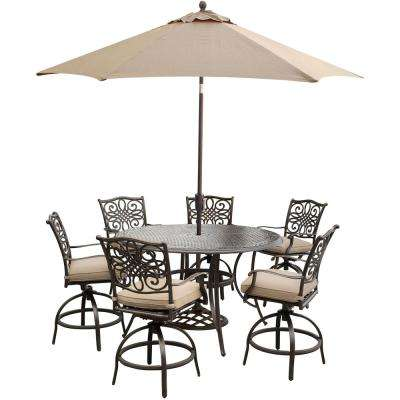 7-Piece Outdoor Aluminum High Dining Set with Round Cast Table, Swivels, Umbrella and Base with Natural Oat Cushions