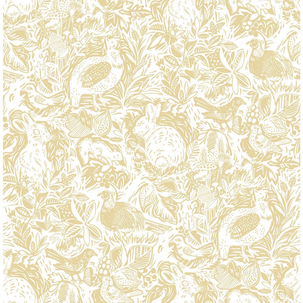 Revival Mustard Fauna Wallpaper