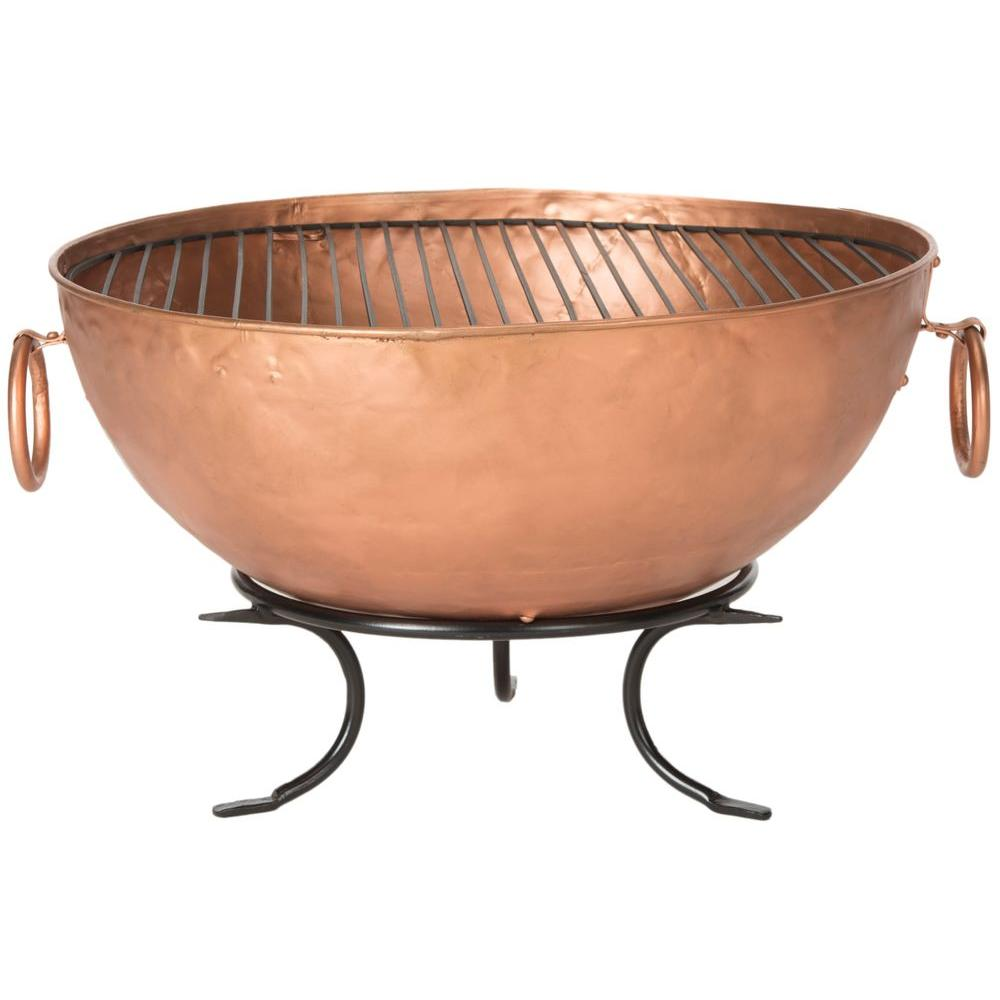 Safavieh Bangkok 32 in. Iron Fire Pit in Copper and Black...
