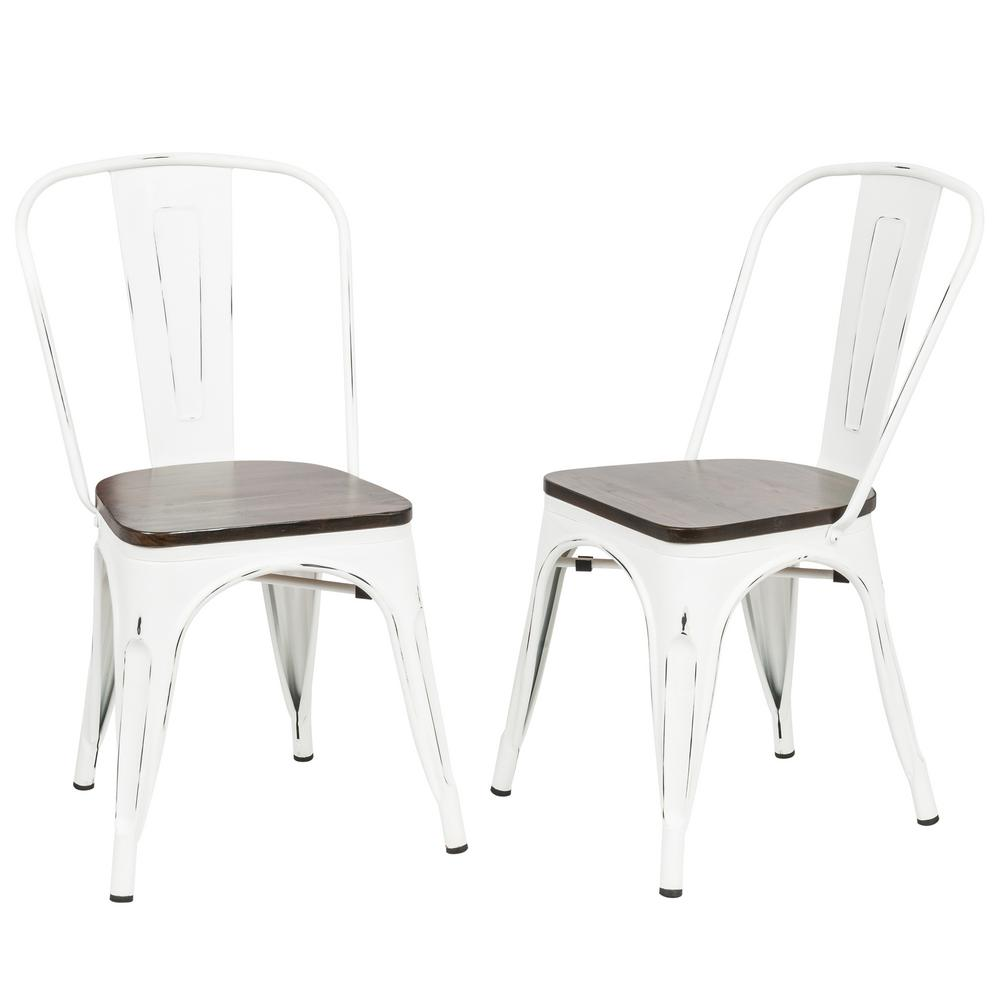Ash Antique White Wood Seat Dining Chair (Set of 2)