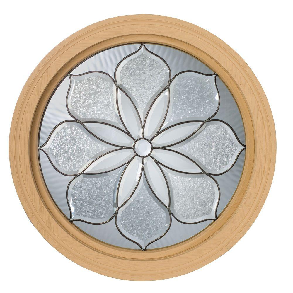 Century Polyurethane Stationary Round Windows, 24 in. x 24 in., Primed, Rough Opening with  Leaded Glass-DISCONTINUED