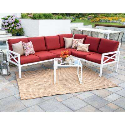 Blakely White 5-Piece Aluminum Outdoor Sectional Set with Red Cushions