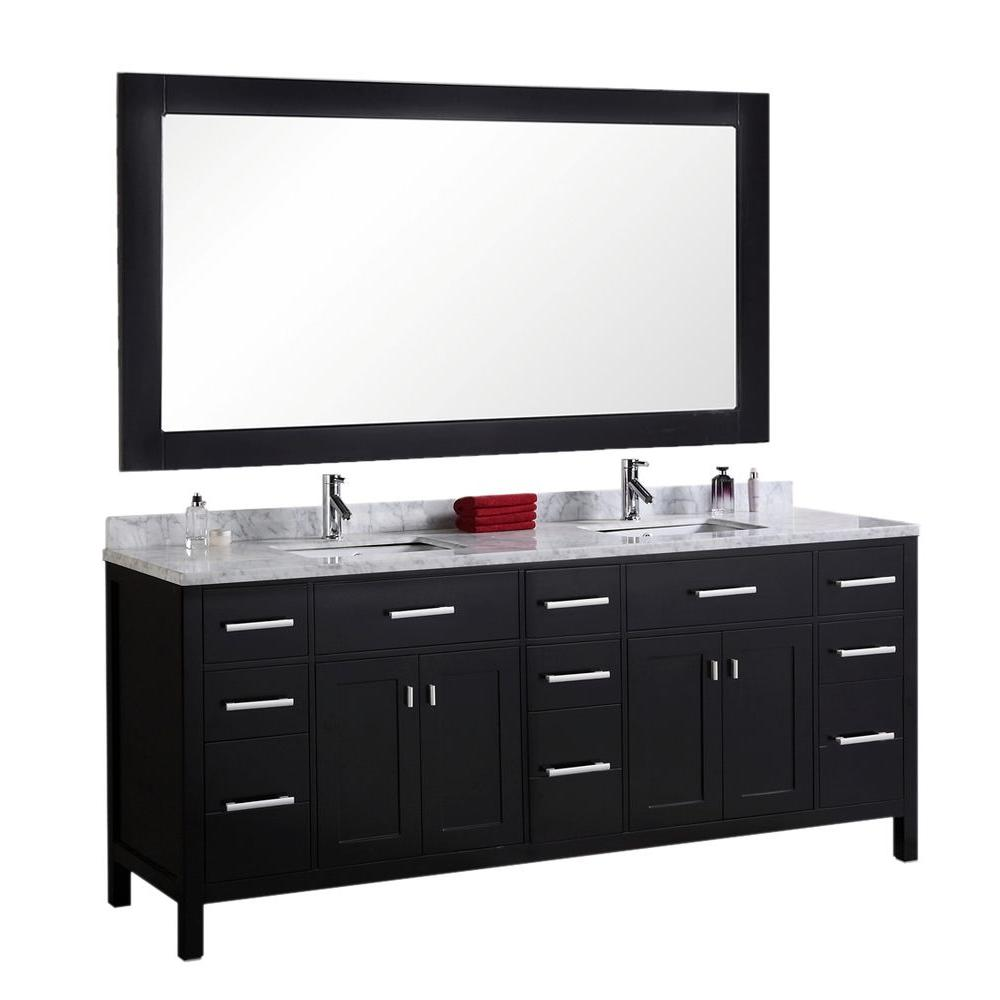 Design Element London 78 in. W x 22 in. D Vanity in Espresso with Marble Vanity Top and Mirror in Carrara White
