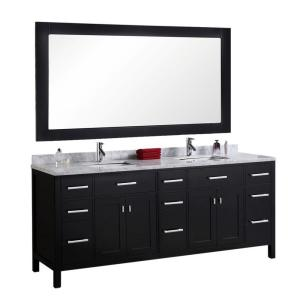 Design Element London 78 inch W x 22 inch D Vanity in Espresso with Marble... by Design Element