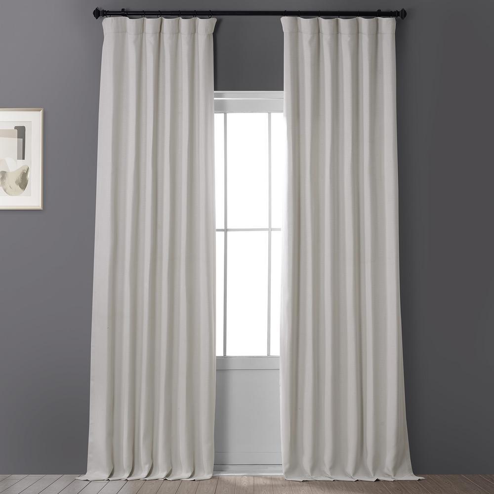 Birch Ivory Faux Linen Blackout Curtain - 50 in. W x 96 in. L