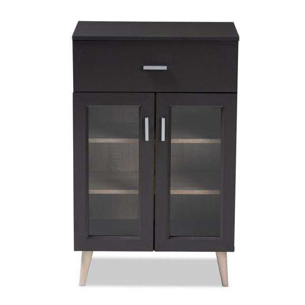 Baxton Studio Jonas Dark Gray and Oak Brown Kitchen Cabinet 147-8666-HD