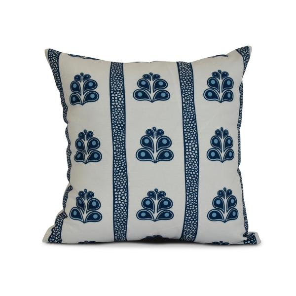 16 in. Navy Blue Wacky Stripe Geometric Print Pillow PG829BL44-16