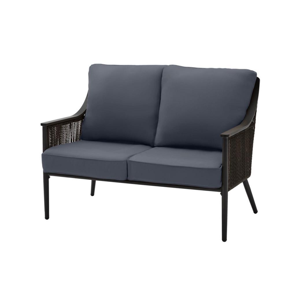 Bayhurst Black Wicker Outdoor Patio Loveseat with CushionGuard Sky Blue Cushions