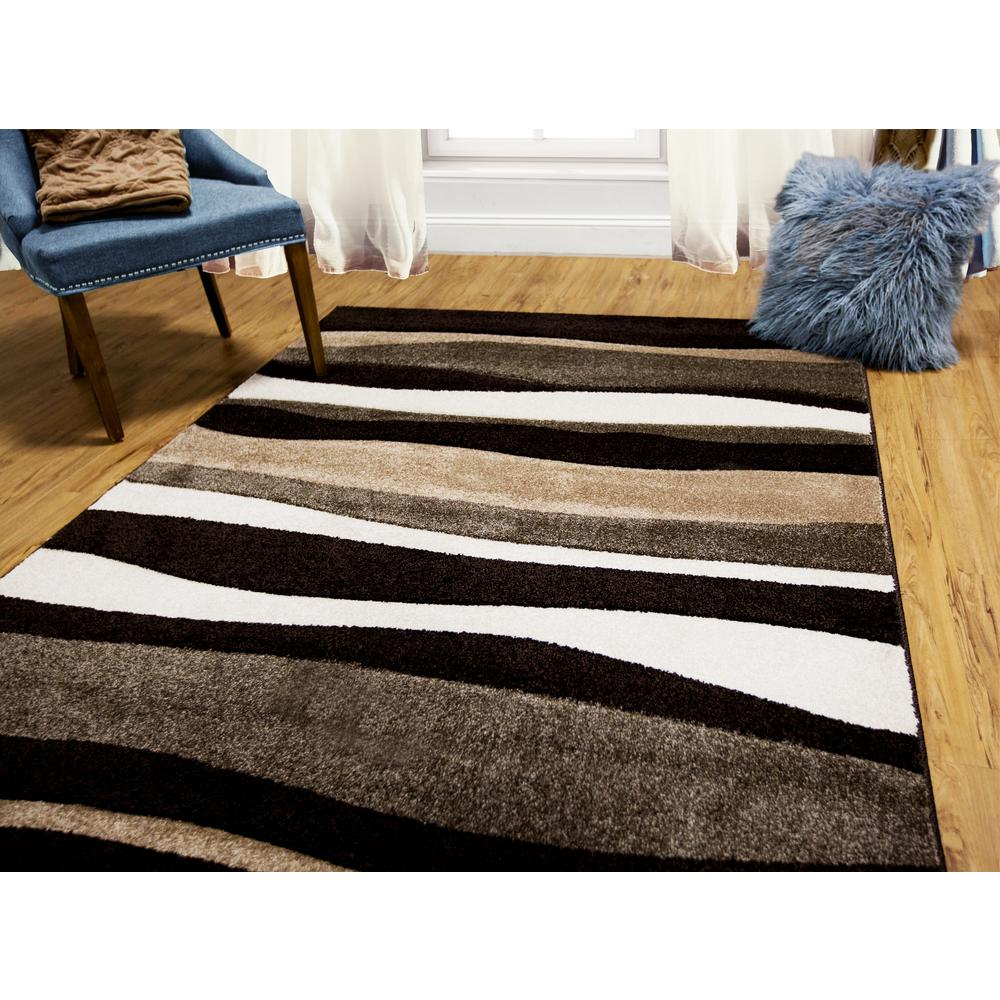 Home Dynamix Bazaar Zag Dark Brown 5 Ft X 7 Ft Area Rug