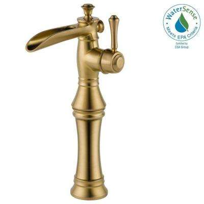 Cassidy Single Hole Single-Handle Open Channel Spout Vessel Bathroom Faucet in Champagne Bronze