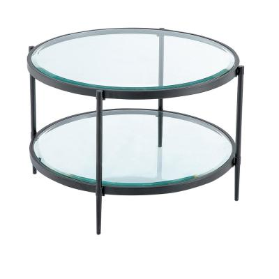 17.72 in. Black Round Coffee Table with Tempered Glass Table Top and Storage Shelf