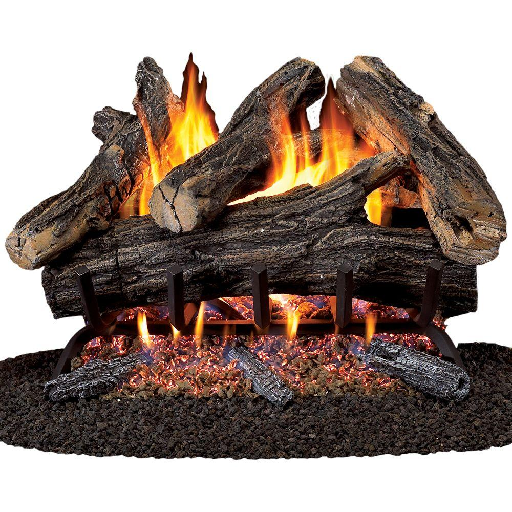 The ProCom 24 in. 55K BTU Vented Gas Fireplace Logs features realistic burning ember beds. This is an ANSI certified product and suitable for indoor usage. It provides a gorgeous look with hand painted logs.
