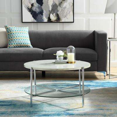 32 in. White Marble Top Glass Shelf Chrome Legs Round Coffee Table