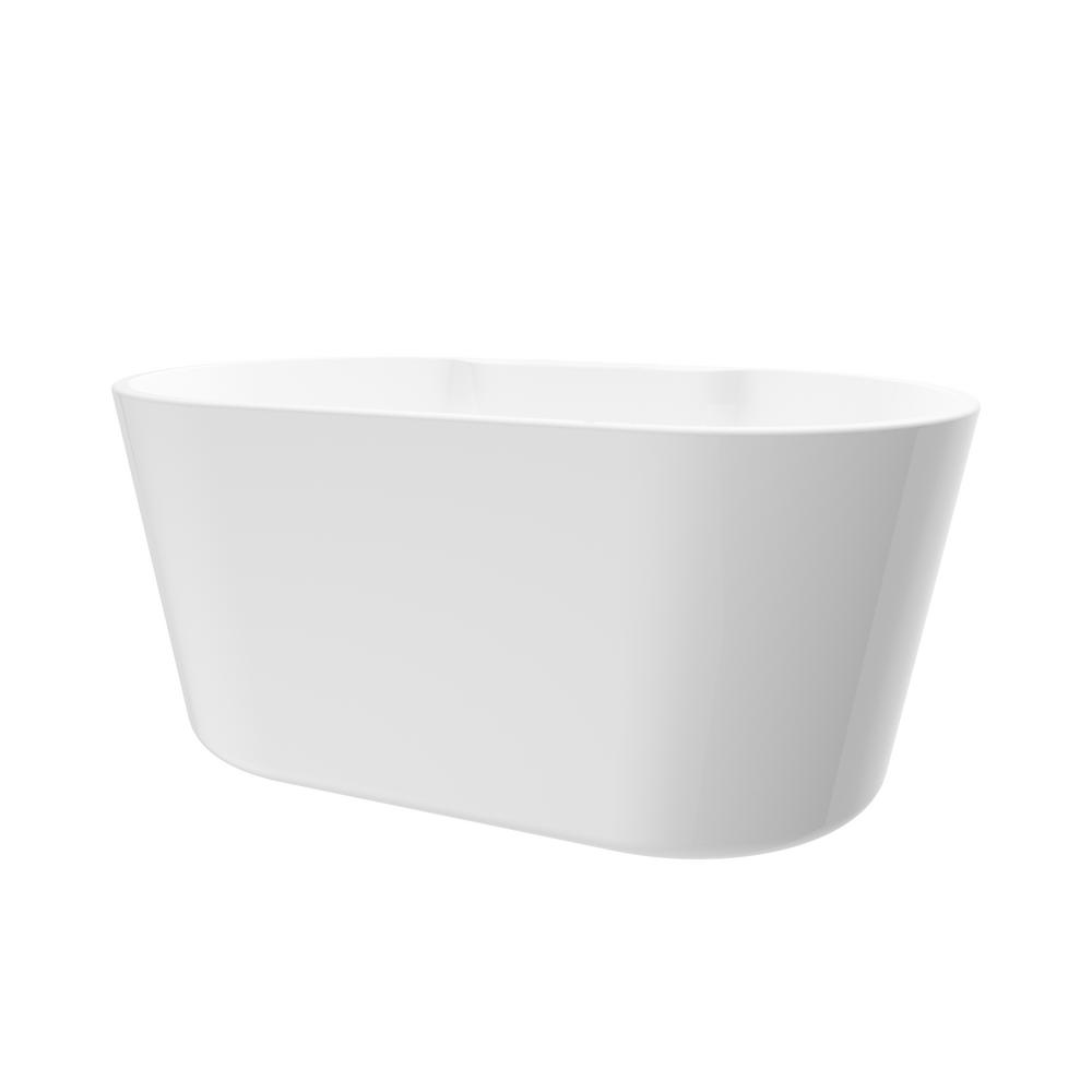 A&E Bath & Shower Coral 56 in. Acrylic Freestanding Flatbottom Non-Whirlpool Bathtub in White No Faucet